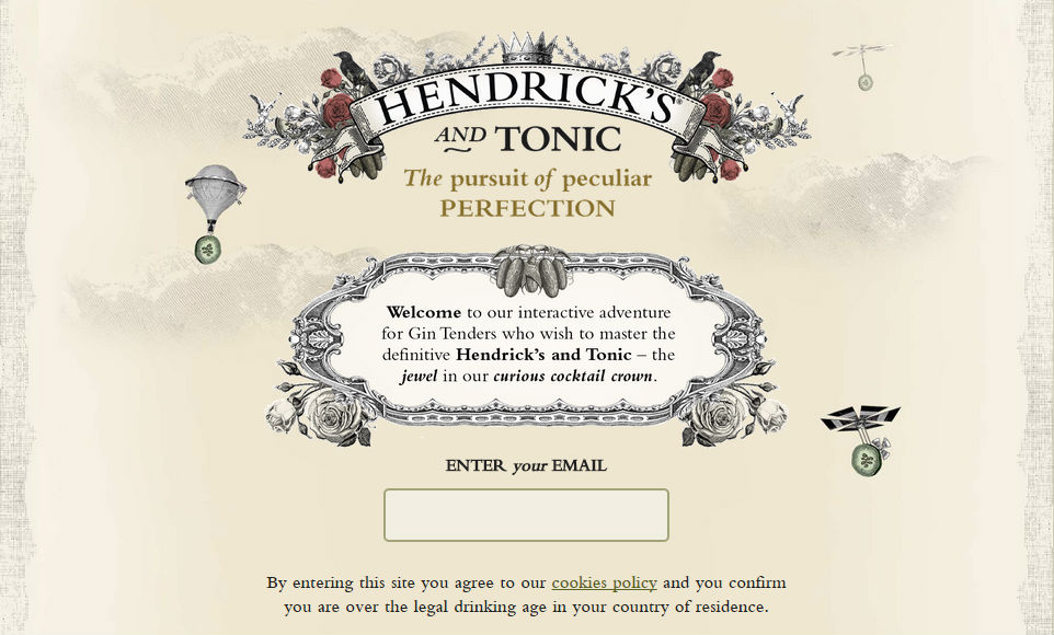 Il sito Hendrick's & Tonic Perfection