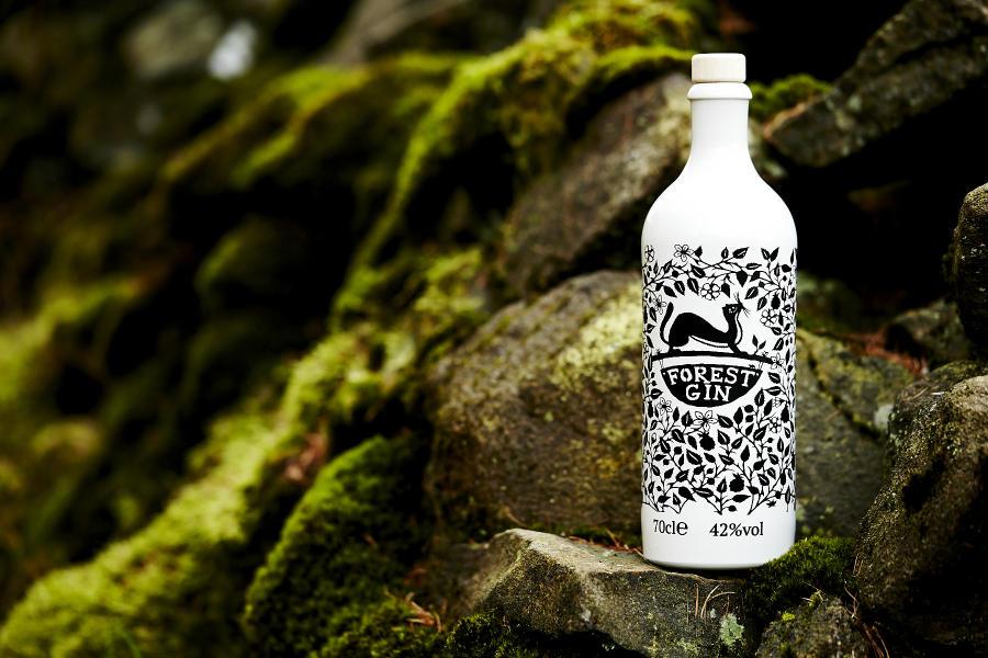 Una bottiglia di Forest Gin in un'immagine promozionale