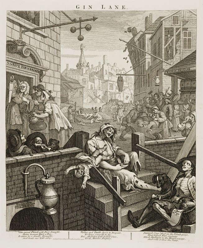 Gin Lane di William Hogarth: una rappresentazione del GINepraio che fu Londra ai tempi del Gin Craze
