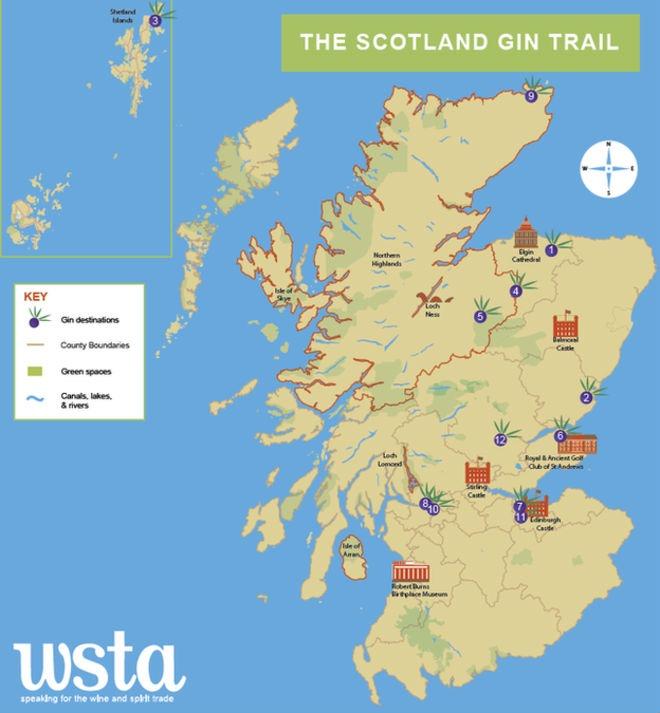 La mappa dello Scotland Gin Trail del WSTA