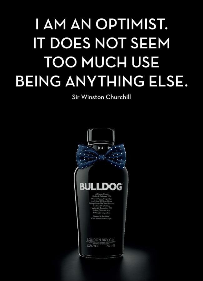Immagine pubblicitaria di Bulldog Gin diffusa per l'anniversario di Winston Churchill