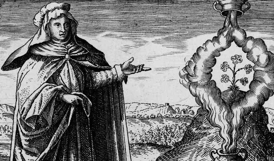 Stampa che illustra Maria Prophetissa dal libro di Michael Maier Symbola Aurea Mensae Duodecim Nationum (1617)